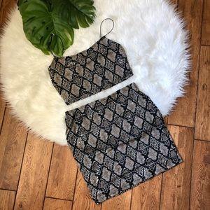 Windsor 🌸 Snake Print Two Piece Top & Skirt Set